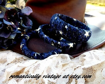 Wrapped Bangle Set, Starry Night, Wedding Rustic Jewelry, Gift for Her, Midnight Blue, Shabby Chic, Jewelry Gift Set, Nature Findings