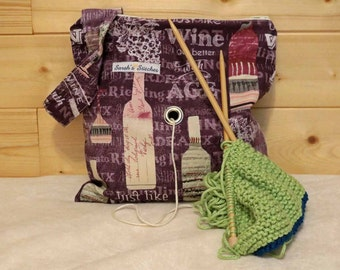 Knitting Bag, Crochet, Knit, Yarn, Wool, Wine, Yarn Storage, Yarn Bag with Hole, Grommet, Handle, SYB13