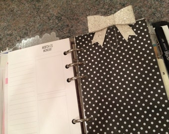 White Glitter Bow clip for your planner!