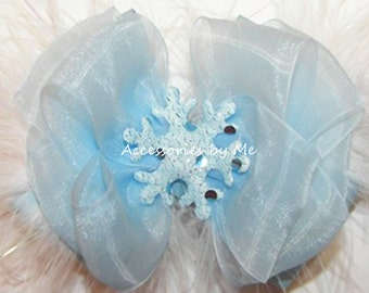 Snowflake Hair Bow, Sparkly Blue Clip, Glittery Hair Band, Light Blue White Marabou Feathers Barrette, Princess Birthday Party Dance Pageant