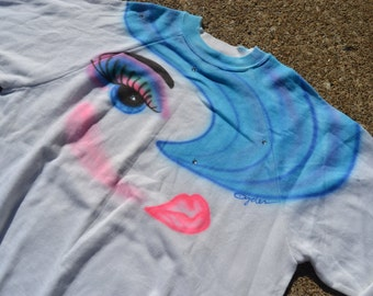 Incredible Vintage 80's Crazy Airbrushed Fashionista Sweater // New Old Stock