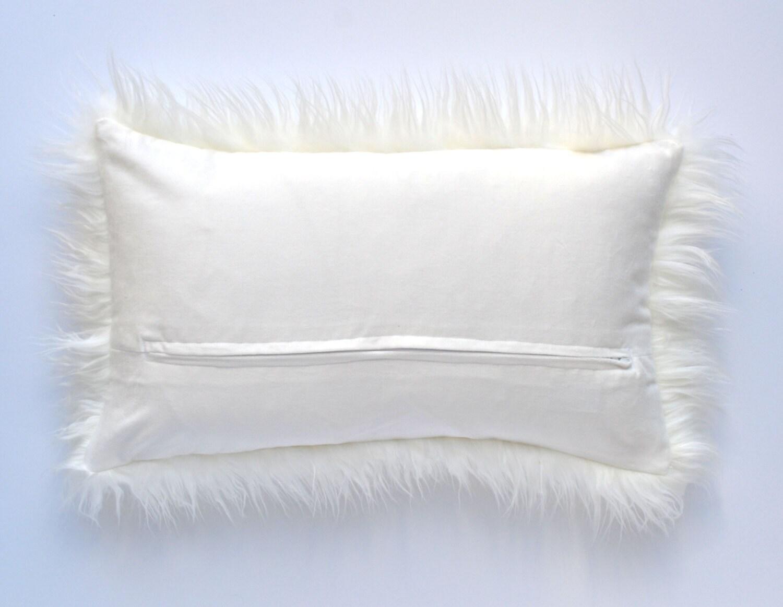 off white mongolian faux fur pillow 12 x 20 ivory pillow cover neutral pillow fur pillow throw pillow
