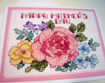 Cross Stitched Mother's Day Greeting Card & Envelope - Flower card - Handmade card