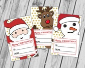 Christmas Printable Tags, Christmas Gift Tags, Santa Claus, Rudolph, Snowman, Christmas Characters -  INSTANT DOWNLOAD