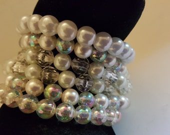 Vintage 6 faux pearl With Clear Beads