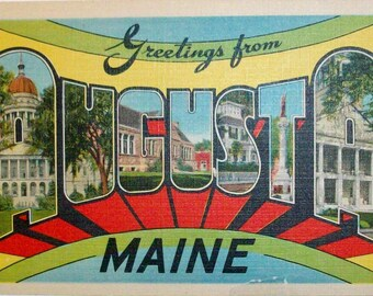 Greetings from August Maine big letter postcard. Vintage large letter postcard. Linen finish, unused.