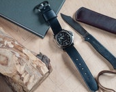 Black Horween Chromexcel Leather Single-Piece Panerai Watch Strap 24mm (Free Shipping)