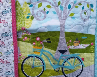 Bicycle Quilt, Summertime Quilt,  Handmade Quilt, Nostalgic, Grandmother Gift, Gift for Mom, Quilt for Mom, Bicycle Summer Time