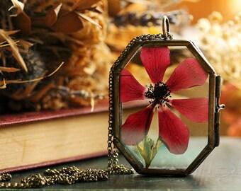 Red poppy necklace , living locket , summer jewellery , pressed flower necklace , nature jewelry, Irish jewellery, made in Ireland #E14