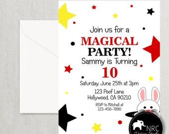 Magic Party, Magic Invitation, Magic Birthday Invitation, Printable Magician Invitation, V2 | NRCDesignStudio