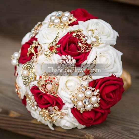 red and gold wedding brooch bouquet brooch by thebridalflower