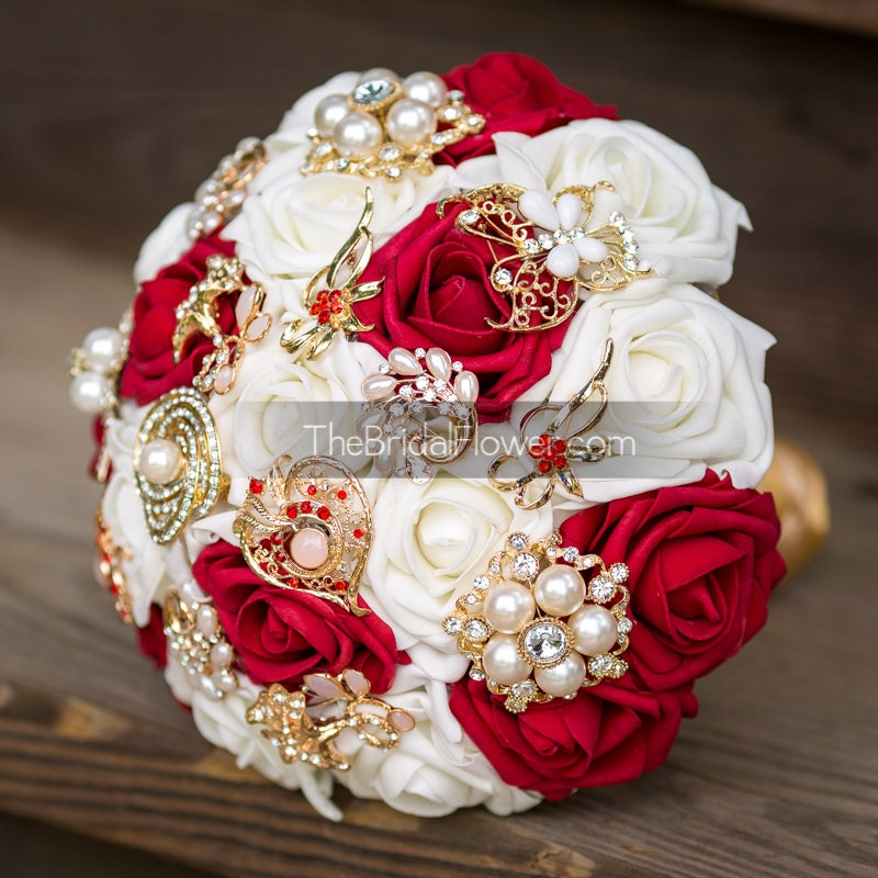 red and gold wedding brooch bouquet brooch by thebridalflower. Black Bedroom Furniture Sets. Home Design Ideas