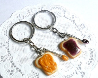 ON SALE Peanut Butter and Jelly Keychain Set, With Knife & Spoon, Best Friend's Keychains, Cute :D