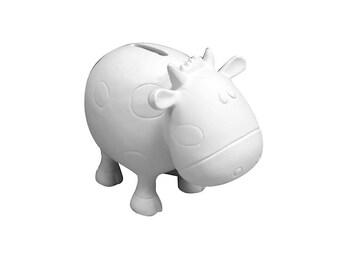 Ceramic cow bank etsy for Bisque ceramic craft stores