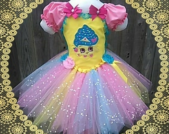 Age 3 shopkins tutu dress. Knee length with embroidered front and sparkle tulle