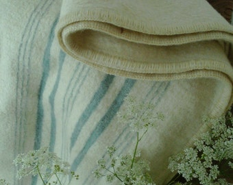 Vintage cream and pale teal striped wool blanket