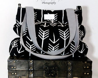 Black Arrow Large Diaper Bag  - Stroller Bag - Bags and Purses - Baby Bag FREE SHIPPING