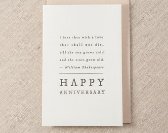 Happy Anniversary Shakespeare Letterpress Greeting Card