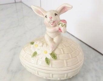 Vintage Egg Box, Porcelain Egg, Rabbit Egg Box, Easter Decor, Vintage Egg, Easter Decor, Vintage Easter Decor, Neiman Marcus Egg