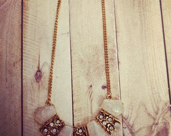 Antique Gold and White Stone Necklace
