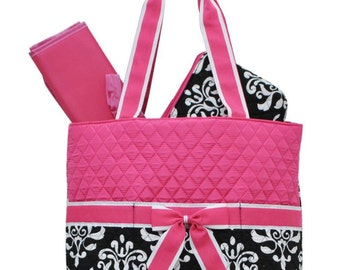 Free Personalization! Shabby Damask and Hot Pink Quilted Diaper Bag, Wedding Bag, Bridal Bag, Tote Bag