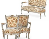 French Louis XV Style Vintage Painted Parlor Suite with Settee Sofa and Two Arm Chairs, G13KPR08