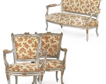 PRICE REDUCED French Louis XV Style Vintage Painted Parlor Suite with Settee Sofa and Two Arm Chairs, G13KPR08