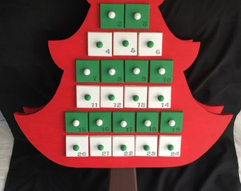 Hand made Christmas tree advent calendar.