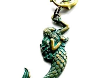Brass Mermaid Necklace Nautical Anchor Handmade Gift