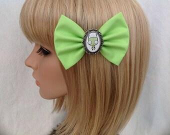 Invader zim GIR hair bow clip rockabilly psychobilly kawaii pin up geek fabric ladies girls women's kitsch accessory