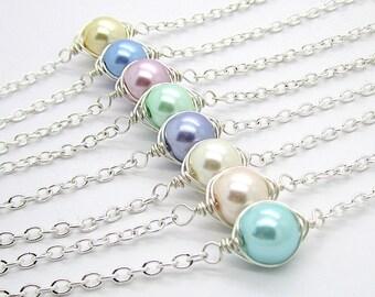 Pastel Bridesmaid Bracelet, Spring Wedding Bridesmaid Sets, Simple Pearl Bridal Jewellery, Summer Weddings, Custom Colour, Bridal Party Gift