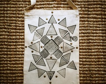 YOGA TOTE BAG • boho hippie gypsy eco block print
