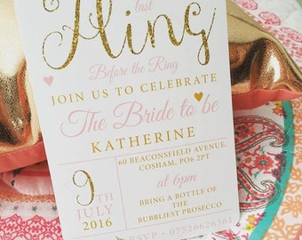 Printable 'One last fling before the Ring' hen do invitations bachelorette pink glitter engagement bride wedding