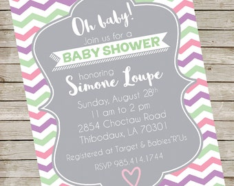 Pink Purple Mint Baby Shower Invitation PIY file ~ Baby Shower Printable ~ Gray Chevron pattern Baby Shower Invite