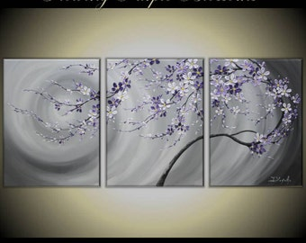 """Original Modern Painting on Gallery wrapped Canvas 54"""" x24"""" Home Decor, Wall Art ---Purple Flowing  Blossoms---- by Tomoko---"""