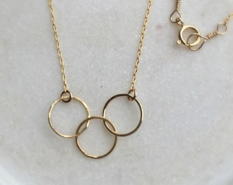 3 Circle Necklace Gold Fill, Dainty Gold Necklace Triple Circle Charm