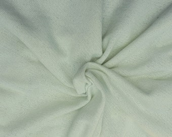 """Light Sage Cotton French Terry Knit Fabric by the Yard 57""""W 5/16"""