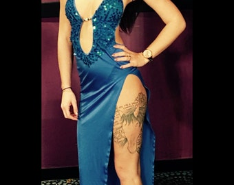 BLUE GOWN With Sequins