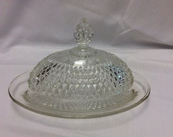 Vintage Indiana glass co. Clear butter dish with dome lid and diamond point pattern
