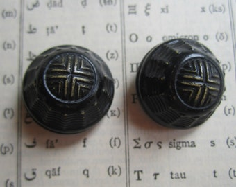 Pair of Small Vintage Celluloid Black and Cream Button