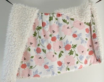 NEW! Dream Blanket, Pink Rose Minky with Ivory Faux Fur