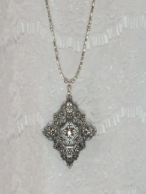 Antique Silver Plated Pendant - Long Pendant Necklace - Long Beaded Necklace