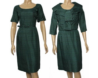 Vintage 1950s Dress.Bolero Jacket.Green. Designer Vogue.Matching Bolero Jacket.