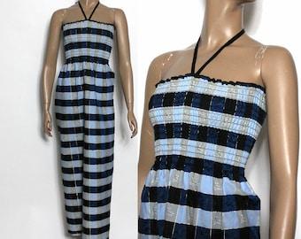 Vintage 1970s Dress Halter Gown Maxi Gown Halter Dress Blue Gold Threading
