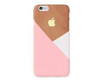 iPhone 6s Case - Pastel pink layered on wood pattern - iPhone 7 case, iPhone 7 Plus case, iPhone SE, non-glossy L05