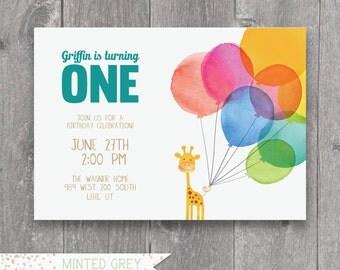 Printable Giraffe Balloon First Birthday Invitation