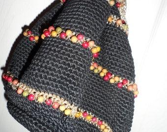 black beaded drawstring bag handbag purse crocheted   wooden beads