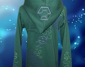 "Forest Green, L, UV reactive Green and purple 'Hexagonally"",geometric embroidered Hoodie - festival, psy, pixie, scifi wear, geometry lovers"