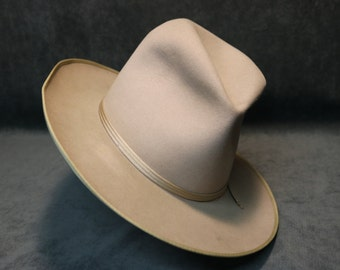 """1950's Stetson """"Hank Williams"""" Style Fur/Felt Fedora Hat in Awesome Condition"""