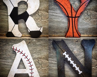 Nursery Decor- Sports Nursery Wood Wall Letters Decor-Baby Boy Nursery-Boys Room Decor-Sports Nursery Theme-Basketball-Football-Baseball